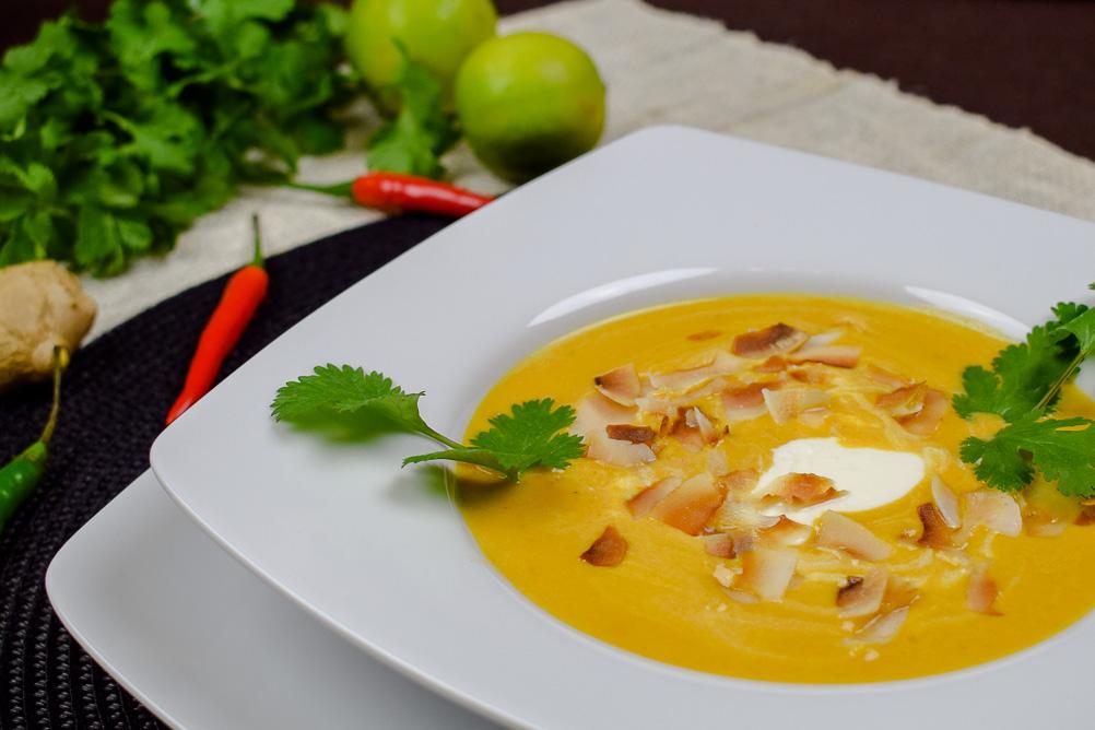 Exotische Süßkartoffel-Suppe mit Ingwer und Chilli