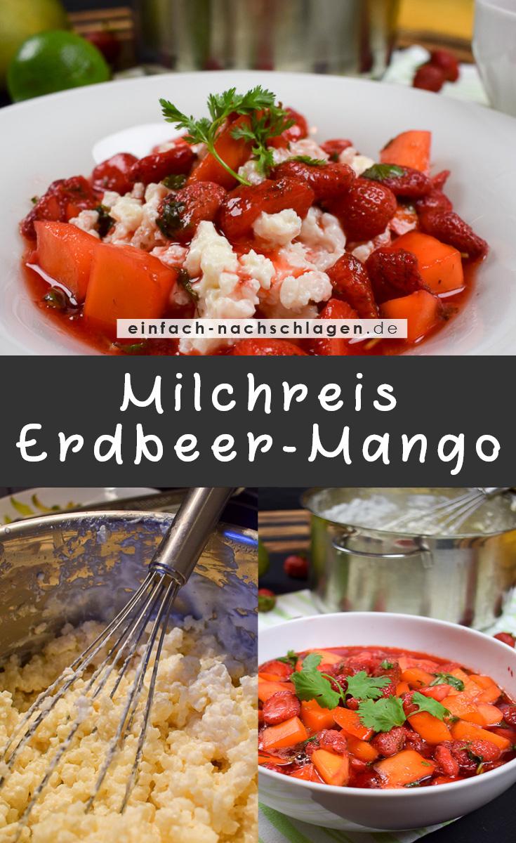 Rezept - Milchreis mit Erdbeer-Mango-Kompott