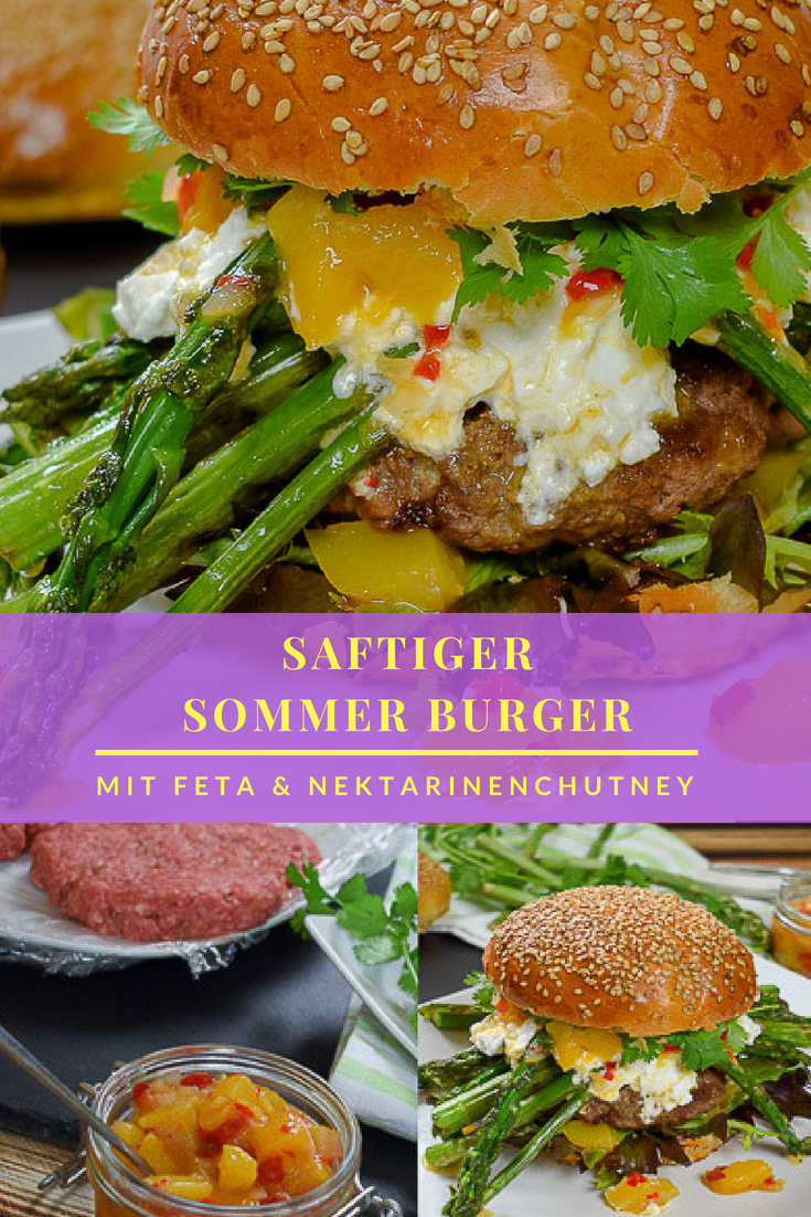 Sommer Burger mit Nektarinenchutney