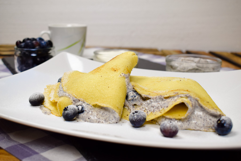 Rezept Blaubeer - Palatschinken mit Quark-Mohn-Creme