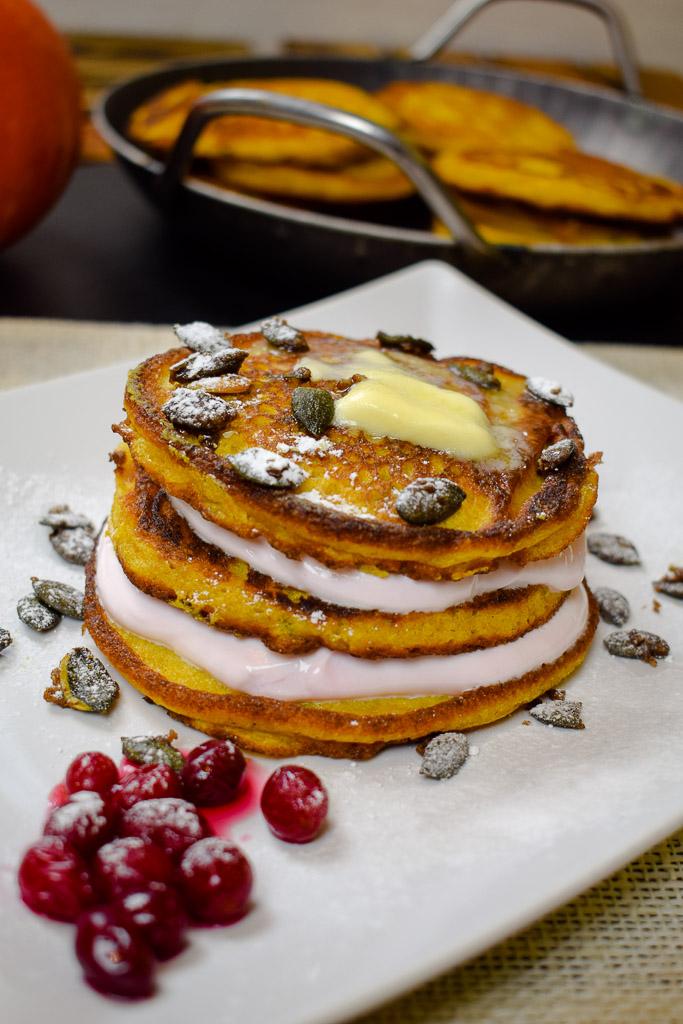Kürbispancakes mit Quarkcreme