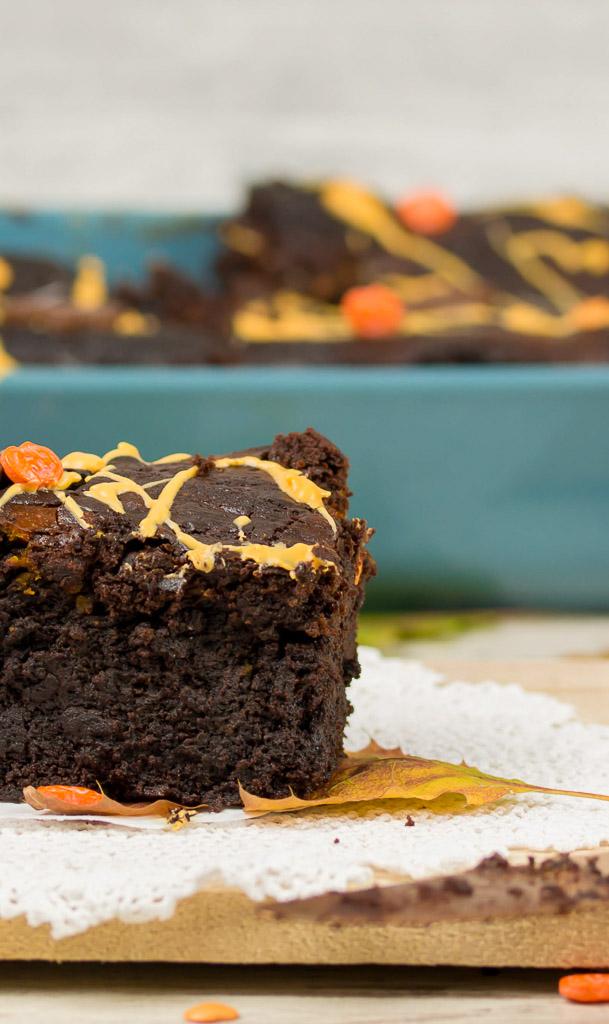 Kürbis Brownies mit Frischkäse
