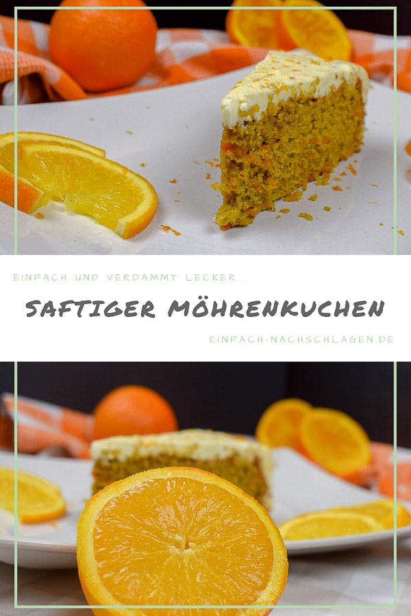 Saftiger Möhrenkuchen mit Orangen Frosting