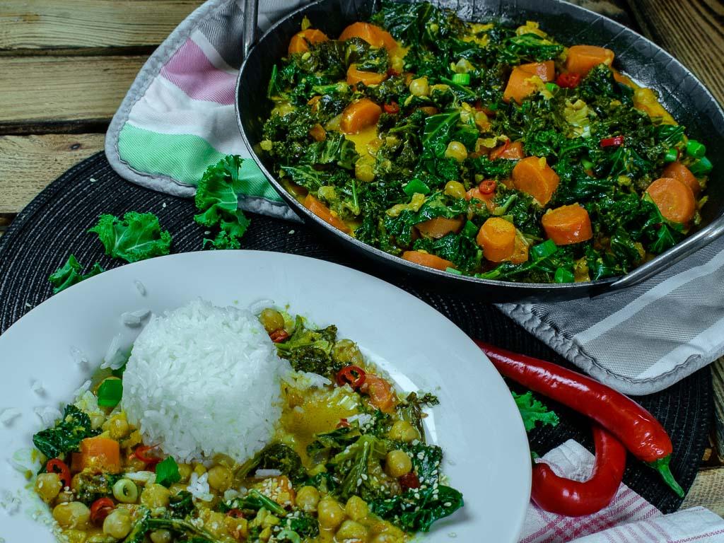 Detailansicht Grünkohl-Karotten-Curry